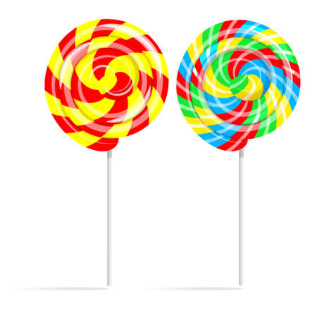 piruleta: establece piruleta remolino de colores. dulce caramelo con palo en un palo aislado en el fondo blanco Vectores