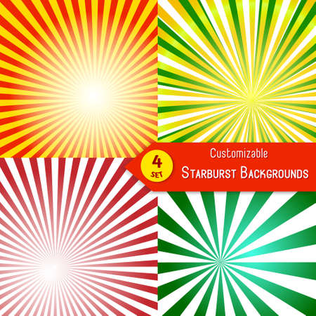 sunburst: Set of sunburst backgrounds. Abstract sun rays. Collection of orange, red, green and yellow rays. Set of sunburst retro textures