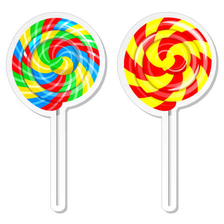 candy store: Food label or sticker set. Set of sweet lolly pops, candy store, confectionery shop design template.