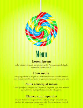 Colorful swirl lolly pop, candy store banner template. Bright retro summer menu cover with lollies and space for text