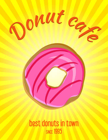 donut shop: Donut illustration vintage coffee shop banner, background. Donut bakery retro advertising banner, poster design. Art Deco stylised food poster with copy space Illustration