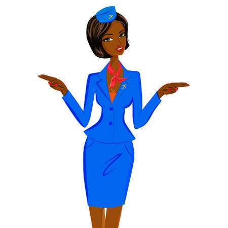 short trip: Cute cheerful dark skin female flight attendant in blue and red uniform gesturing emergency exits on the plane. Vector character illustration isolated on white background