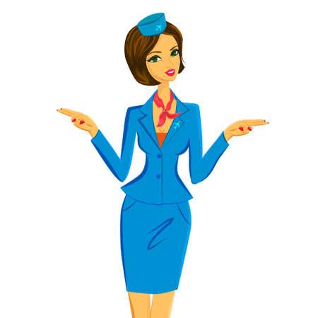 salidas de emergencia: azafata linda alegre en uniforme azul y rojo haciendo un gesto salidas de emergencia en el avi�n. Ilustraci�n del vector del car�cter aislado en el fondo blanco