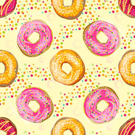 glazing: Abctract vector seamless food pattern with colorful donuts with different glazing and sprinkles. Illustration