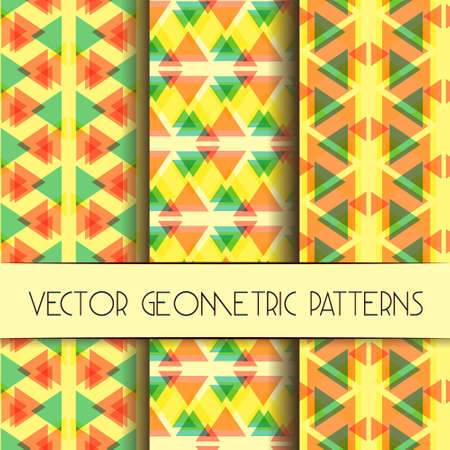 tessellated: Abstract geometric bright patterns collection. Set of bright modern geometric textile patterns.