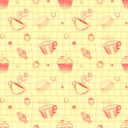 teacup: Vector vintage seamless pattern with hand drawn cupcakes, teacups, sweets, berries and hearts. Unique and elegant seamless food background with dessert as main theme. Kitchen themed pattern