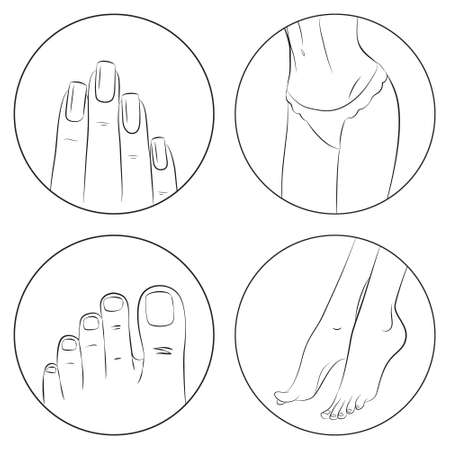 Manicure, pedicure and body care vector icon set. Pack of 4 icons in modern thin line style. Isolated on white background