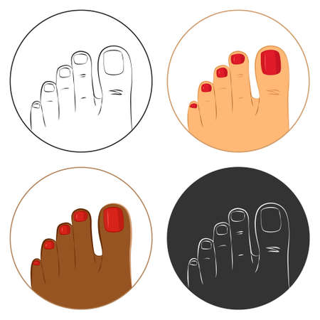 pedicure set: Pedicure and body care vector icon set. Pack of 4 icons, white, dark brown and outlines. Isolated on white background