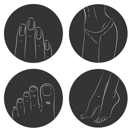 pedicure set: Manicure, pedicure and body care vector icon set. Pack of 4 icons isolated on white background Illustration