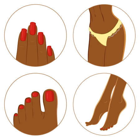dark skin: Manicure, pedicure and body care vector icon set. Pack of 4 icons for spa procedures. Dark skin female body parts. Isolated on white background