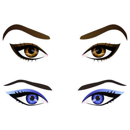 Ensemble de réalistes vecteur de dessin animé yeux et les sourcils avec différentes couleurs et la mode des femmes de maquillage. Brown et les yeux et les sourcils bleus élément de design, les parties du corps isolé sur fond blanc. Yeux de près