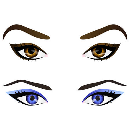 eye liner: Set of realistic cartoon vector female eyes and eyebrows with different colors and fashion make up. Brown and blue eyes and brows design element, body parts isolated on white background. Eyes close up