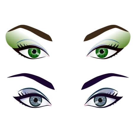 Conjunto de vectores de dibujos animados ojos femeninos realistas y cejas con la moda conforman. Los ojos verdes y grises y cejas elemento de diseño, las partes del cuerpo aislado en fondo blanco. Los ojos se cierran para arriba Ilustración de vector