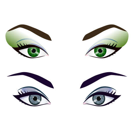 eyes close up: Set of realistic cartoon vector female eyes and brows with fashion make up. Green and grey eyes and brows design element, body parts isolated on white background. Eyes close up