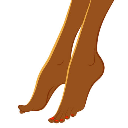 feet care: African womans feet vector isolated on white background. Pedicure and body care vector concept for dark skin women. Design element for web icons, pedicure, spa brochures, fliers