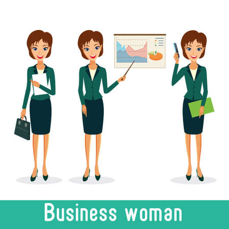 personal assistant: Business woman character vector set. Working female in office. Cheerful smiling business woman character. Woman career collection isolated on white background Illustration