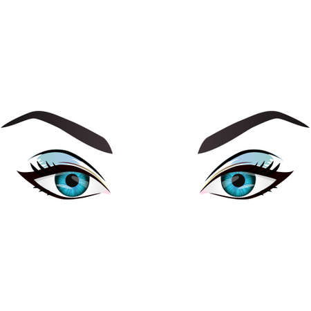 fashion make up: Realistic cartoon vector female blue eyes and eyebrows and fashion make up. Blue eyes and brows design element, body parts isolated on white background. Eyes close up Illustration