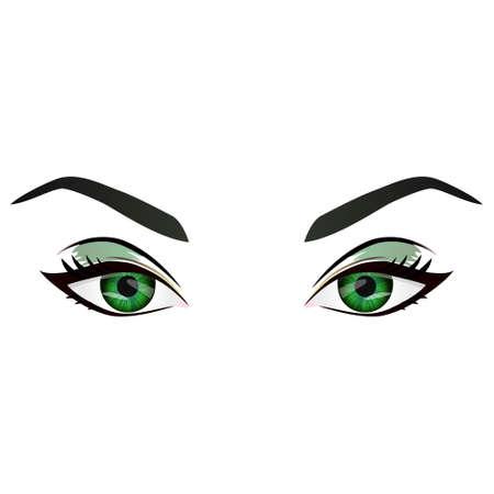 Realistische Cartoon-Vektor weibliche grüne Augen und Augenbrauen und Mode bilden. Grüne Augen und Augenbrauen-Design-Element, Körperteile auf weißem Hintergrund. Augen schließen oben