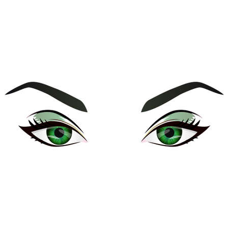 Realistic cartoon vector female green eyes and eyebrows and fashion make up. Green eyes and brows design element, body parts isolated on white background. Eyes close up