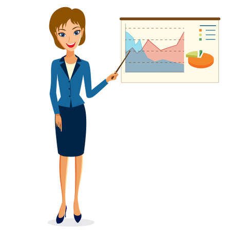 personal assistant: Business woman character vector. Illustration