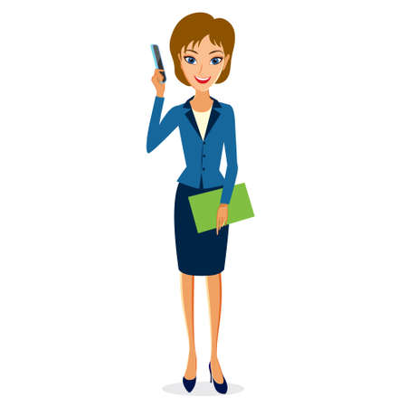 smart phone woman: Business woman character vector. Cheerful smiling business woman character with smart phone. Illustration