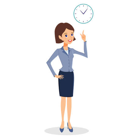 self control: Business woman character vector. Cheerful smiling business woman character with clock. Time management, business planning concept.