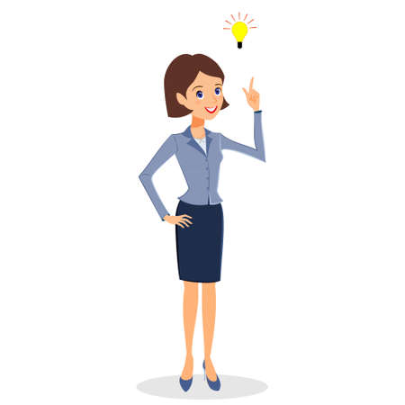 personal assistant: Business woman character vector. Cheerful smiling business woman character with light bulb.