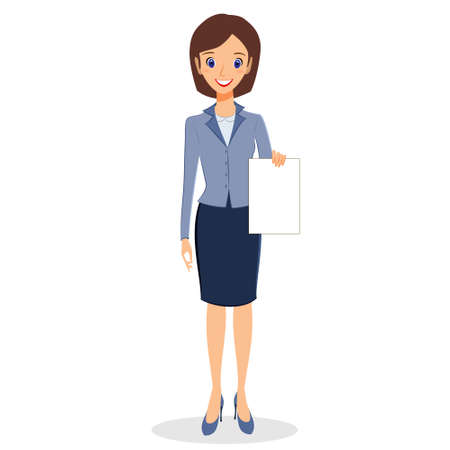 personal assistant: Business woman character vector. Cheerful smiling business woman character holding blank sheet of paper. Woman business character isolated on white background Illustration