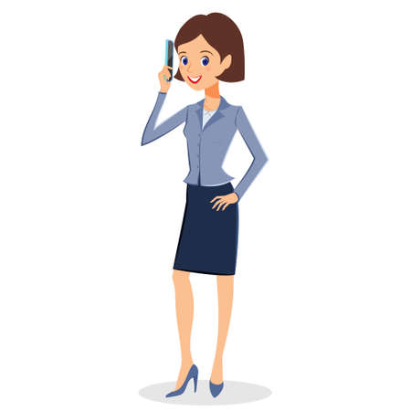 smart phone woman: Business woman character vector. Cheerful smiling business woman character with smart phone. Woman business character isolated on white background Illustration