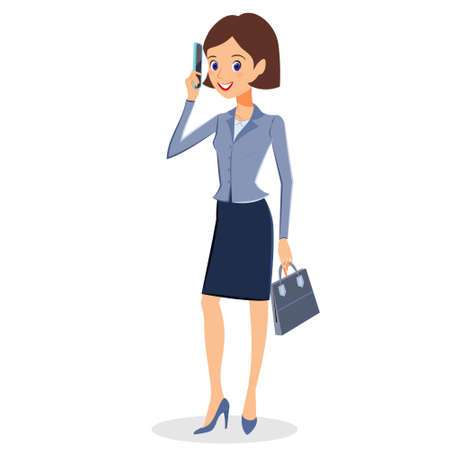 personal assistant: Business woman character vector. Cheerful businesswoman cartoon character using her smartphone. Woman business character isolated on white background