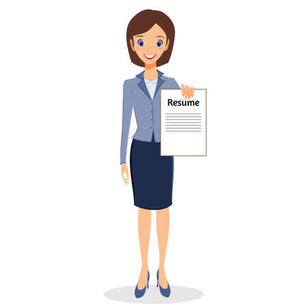 office life: Business woman character vector. Cheerful smiling business woman character holding resume. Job search concept. Woman business character isolated on white background Illustration
