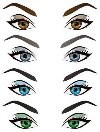 Reeks realistische cartoon vector vrouwelijke ogen en wenkbrauwen met verschillende kleur en make-up. Bruin, blauw, groen, grijs vrouw ogen en wenkbrauwen design element, lichaamsdelen op een witte achtergrond