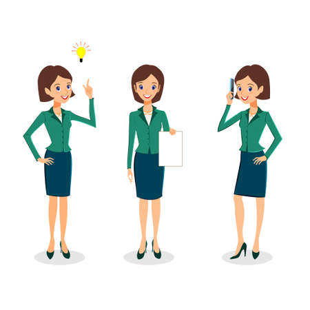 personal assistant: Business woman character vector set. Cheerful business woman character. Creative thinking and office life concept. Woman career collection isolated on white background
