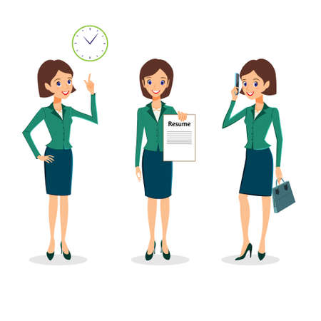 Business woman character vector set. Office life character collection. Cheerful business woman character, time management and job search concept. Woman career collection isolated on white background