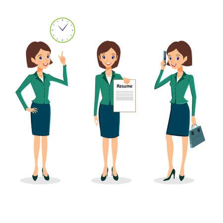 Kobieta biznesu wektorowe ustawiony. Biuro zbiór znaków życia. Pogodny charakter kobiety biznesu, zarządzanie czasem i poszukiwanie pracy koncepcja. Kobieta zbieranie kariery na białym tle Ilustracje wektorowe