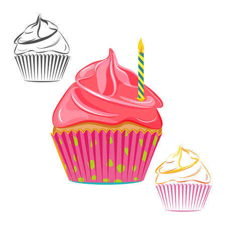 topping: Birthday candle cupcake set isolated on white. Pink topping muffin outline, line drawing. Great as web icons, design elements or labels, wrapping paper