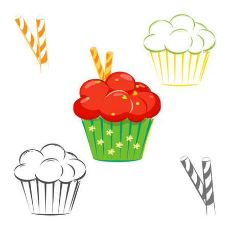 topping: Cream topping cupcake set. Muffin with red topping and waffle sticks outline, line drawing. Great as web icons, design elements or labels, wrapping paper Illustration