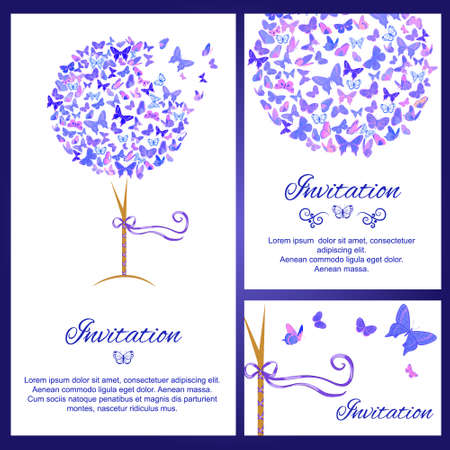 butterflies for decorations: Wedding invitation set with butterflies in blue color. Simple and elegant vector invitation, card template. Copy space. Perfect as wedding invitation and cards