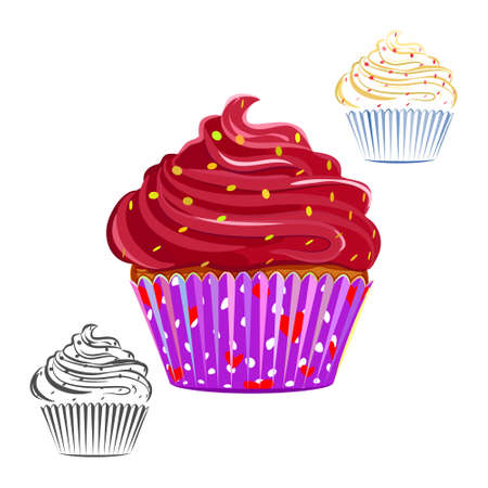 chocolate swirl: Chocolate swirl cupcake set isolated on white. Chocolate topping muffin outline, line drawing. Great as web icons, design elements or labels, wrapping paper