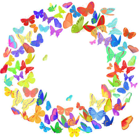 butterflies for decorations: Butterfly wreath design element, banner template in bright color. Simple and elegant vector border,frame with butterflies isolated on white background. Copy space. Perfect as wedding invitation and cards
