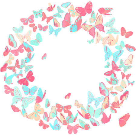 butterflies for decorations: Butterfly frame design element in pink and blue. Simple and elegant border, wreath with butterflies isolated on white background. Copy space. Perfect as wedding invitation,  banners and cards