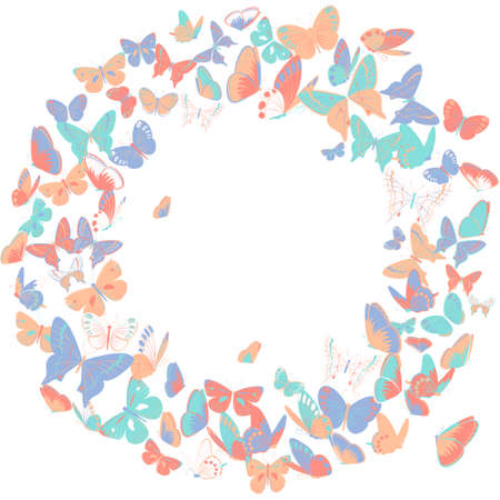 butterflies for decorations: Butterfly frame design element, retro banner in soft pastel colors. Elegant border, wreath with butterflies. Copy space. Isolated on white background. Great as wedding invitation, banner and cards