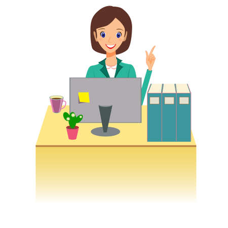 computer work: Business woman character vector. Cheerful smiling cartoon female character working at the desk and gesturing for attention. Isolated on white background