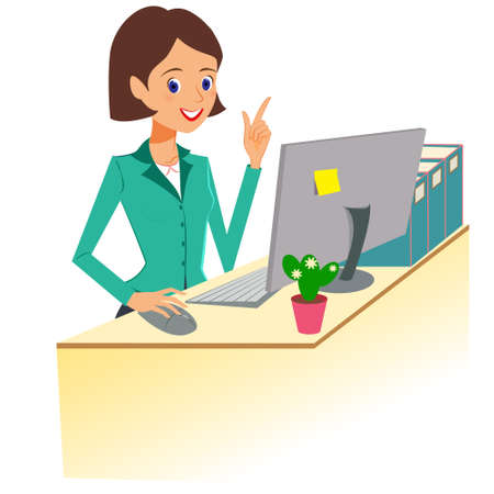 Business woman character vector. Cheerful smiling cartoon female character working at the desk and gesturing for attention. Isolated on white background