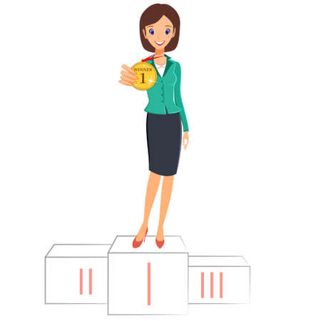 first place: Businesswoman winner success concept. Excited smiling cartoon character vector female business woman winner standing in first place on a podium and showing a medal. Isolated on white background