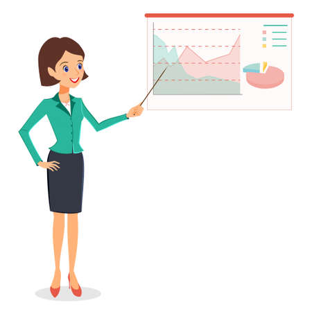 personal assistant: Business woman pointing on graph, diagram. Cheerful smiling woman in business suit making presentation. Vector person character isolated on white background