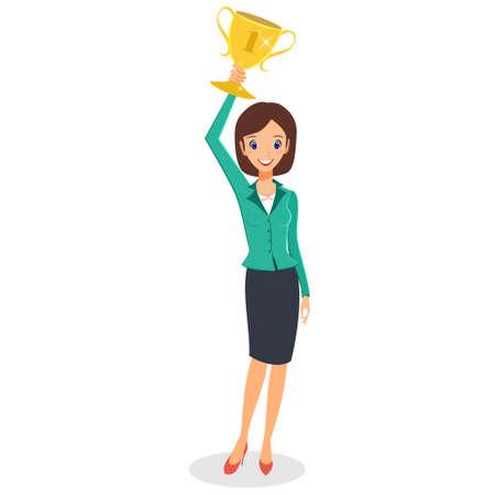 Succès du gagnant de concept de femme d'affaires. Vecteur de personnage de femme d'affaires. Femme excitée dessin animé souriant soulevant le trophée. Isolé sur fond blanc Vecteurs