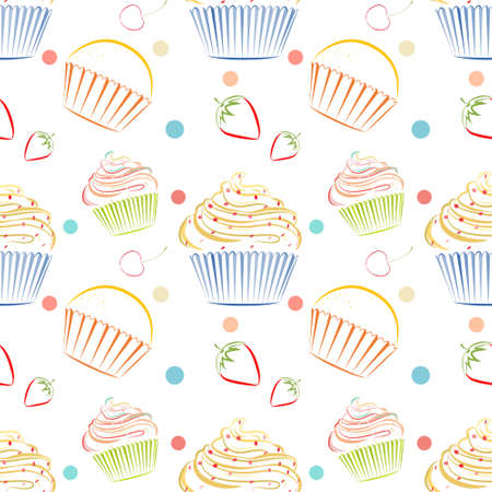 Kitchen Themed Wallpaper. Elegant Vector Seamless Pattern With Different  Cupcakes. Unique Doodle Style Line Drawing Food Background With