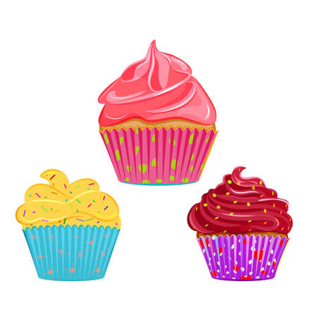 toppings: Set of vector cupcakes, muffins with different toppings and cases. Illustration