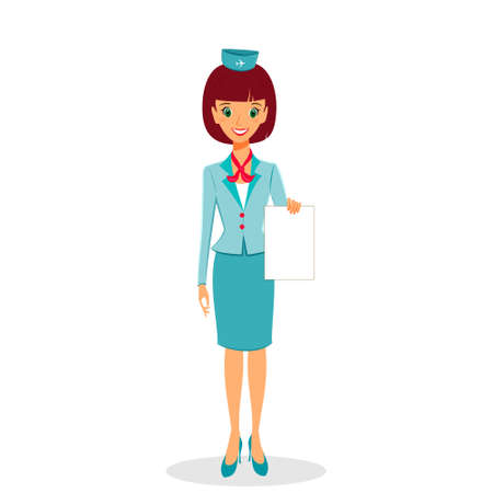 Cartoon flight attendant in uniform holding blank sheet of paper, vector illustration professional occupation character.